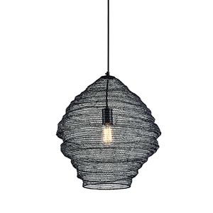Wabi Sabi Black 18-Inch Pendant with Iron Mesh