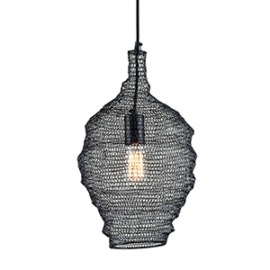 Wabi Sabi Black 12-Inch Pendant with Iron Mesh