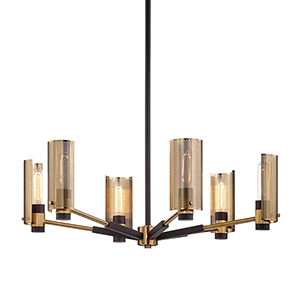 Pilsen Modern Bronze And Aged Brass Six-Light Chandelier