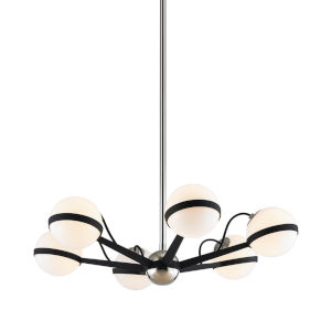 Ace Carbide Black with Polished Nickel Six-Light Chandelier
