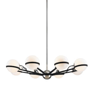 Ace Carbide Black with Polished Nickel Eight-Light Chandelier