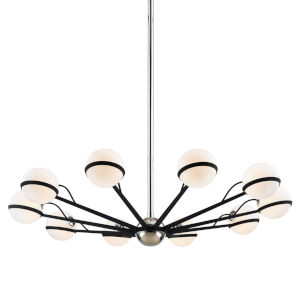 Ace Carbide Black with Polished Nickel 10-Light Chandelier