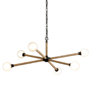 Nomad Classic Bronze and Natural Six-Light Chandelier