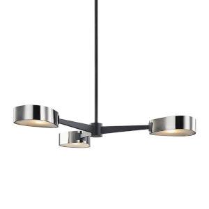 Allisio Carbide Black and Black Chrome Three-Light Chandelier