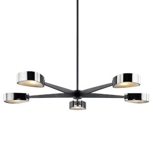 Allisio Carbide Black and Black Chrome Five-Light Chandelier