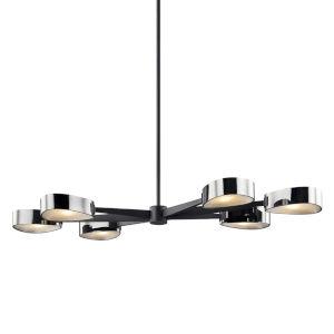 Allisio Carbide Black and Black Chrome Six-Light Chandelier