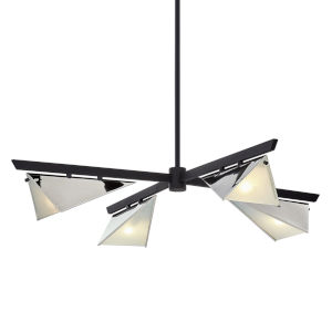 Kite Carbide Black and Polished Nickel Four-Light Chandelier