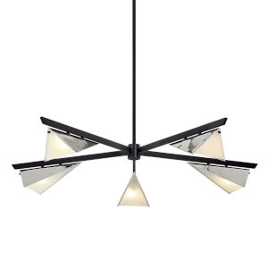 Kite Carbide Black and Polished Nickel Five-Light Chandelier