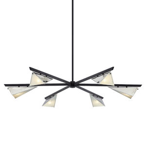 Kite Carbide Black and Polished Nickel Six-Light Chandelier