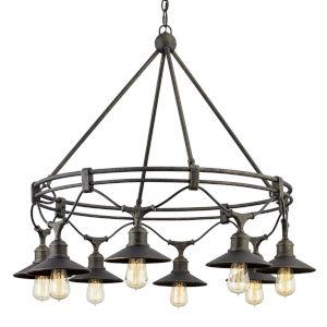 Shelton Vintage Bronze Eight-Light Chandelier