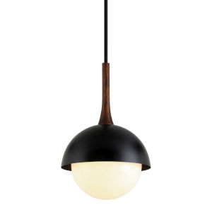 Cadet Black and Natural Acacia One-Light 15-Inch Pendant