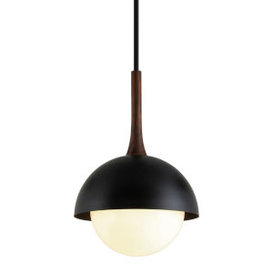 Cadet Black and Natural Acacia One-Light 18-Inch Pendant