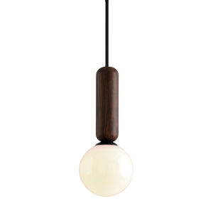 Ensign Black and Natural Acacia One-Light Mini Pendant