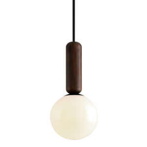 Ensign Black and Natural Acacia One-Light Pendant