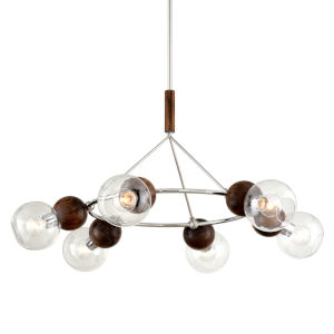 Arlo Polished Stainless Steel and Natural Acacia Six-Light Chandelier