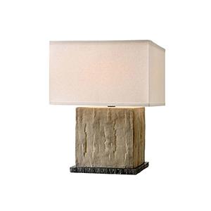 La Brea Sandstone Table Lamp with Linen Shade