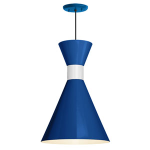 Mid Century Blue and Gloss White 10-Inch One-Light Pendant