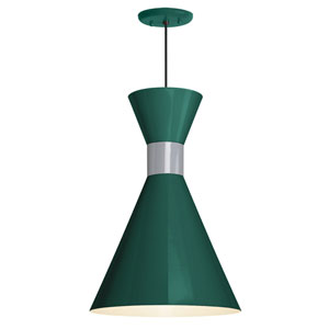 Mid Century Hunter Green and Flannel Gray 10-Inch One-Light Pendant