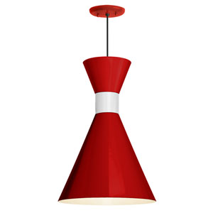 Mid Century Red and Gloss White 10-Inch One-Light Pendant