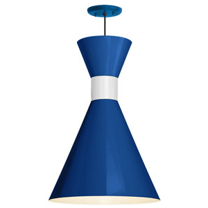 Mid Century Blue and Gloss White 12-Inch One-Light Pendant