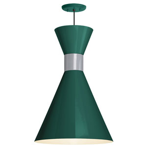 Mid Century Hunter Green and Flannel Gray 12-Inch One-Light Pendant