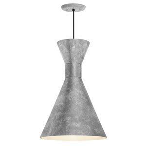 Mid Century Glavanized 10-Inch One-Light Pendant