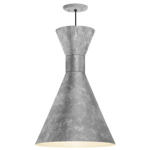 Mid Century Glavanized 12-Inch One-Light Pendant