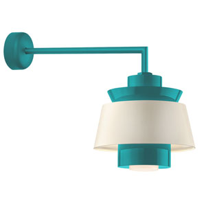 Aero Tahitian Teal LED 16-Inch Outdoor Wall Sconce with 18-Inch Arm