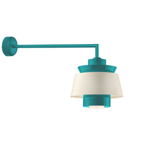 Aero Tahitian Teal LED 16-Inch Outdoor Wall Sconce with 30-Inch Arm