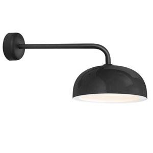 Dome Black One-Light 14-Inch Outdoor Wall Sconce with 18-Inch Arm