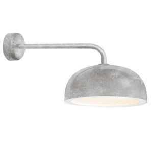 Dome Galvanized One-Light 14-Inch Outdoor Wall Sconce with 18-Inch Arm