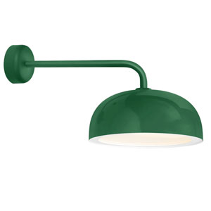 Dome Hunter Green One-Light 14-Inch Outdoor Wall Sconce with 18-Inch Arm