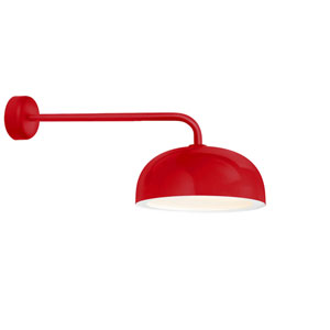 Dome Red One-Light 14-Inch Outdoor Wall Sconce with 30-Inch Arm