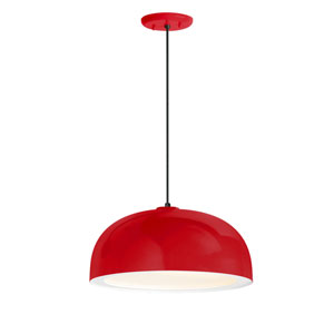 Dome Red One-Light 14-Inch Outdoor Pendant