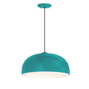 Dome Tahitian Teal One-Light 14-Inch Outdoor Pendant