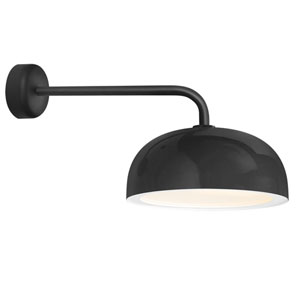 Dome Black One-Light 16-Inch Outdoor Wall Sconce with 18-Inch Arm