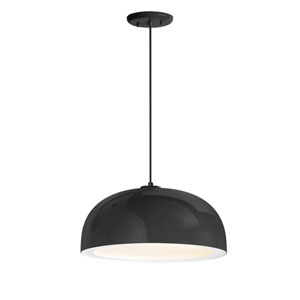 Dome Black One-Light 16-Inch Outdoor Pendant
