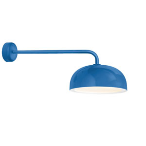 Dome Blue One-Light 16-Inch Outdoor Wall Sconce with 30-Inch Arm