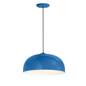 Dome Blue One-Light 16-Inch Outdoor Pendant