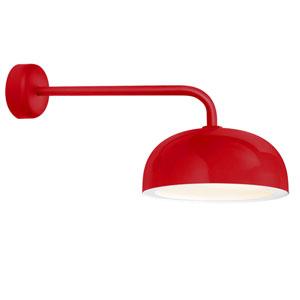 Dome Red One-Light 16-Inch Outdoor Wall Sconce with 18-Inch Arm