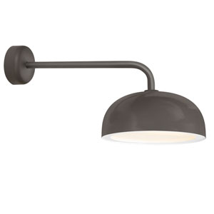 Dome Textured Bronze One-Light 16-Inch Outdoor Wall Sconce with 18-Inch Arm