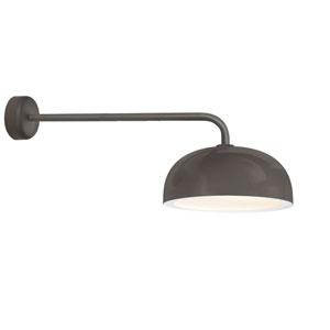 Dome Textured Bronze One-Light 16-Inch Outdoor Wall Sconce with 30-Inch Arm