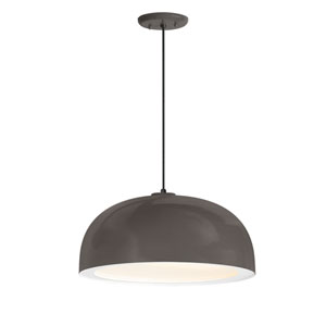 Dome Textured Bronze One-Light 16-Inch Outdoor Pendant