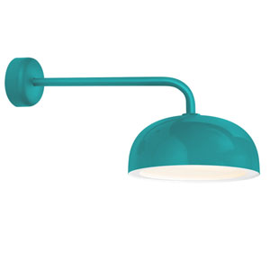 Dome Tahitian Teal One-Light 16-Inch Outdoor Wall Sconce with 18-Inch Arm