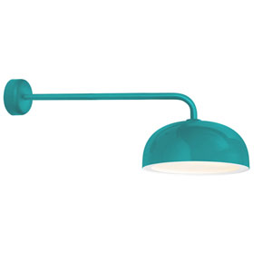 Dome Tahitian Teal One-Light 16-Inch Outdoor Wall Sconce with 30-Inch Arm