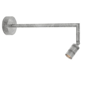Bullet Head Galvanized LED Outdoor Miter Arm Wall Sconce