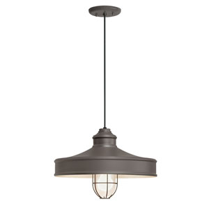 Nostalgia Textured Bronze One-Light 14-Inch Outdoor Pendant