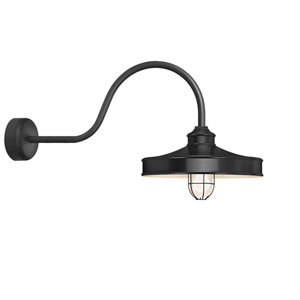 Nostalgia Black One-Light 14-Inch Outdoor Wall Sconce with 30-Inch Arm