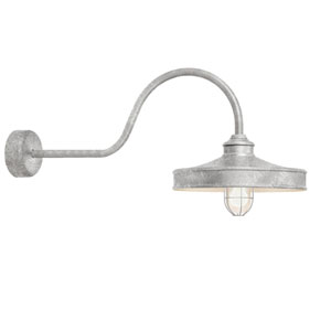 Nostalgia Galvanized One-Light 14-Inch Outdoor Wall Sconce with 30-Inch Arm