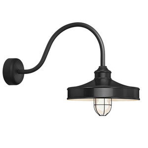 Nostalgia Black One-Light 14-Inch Outdoor Wall Sconce with 23-Inch Arm